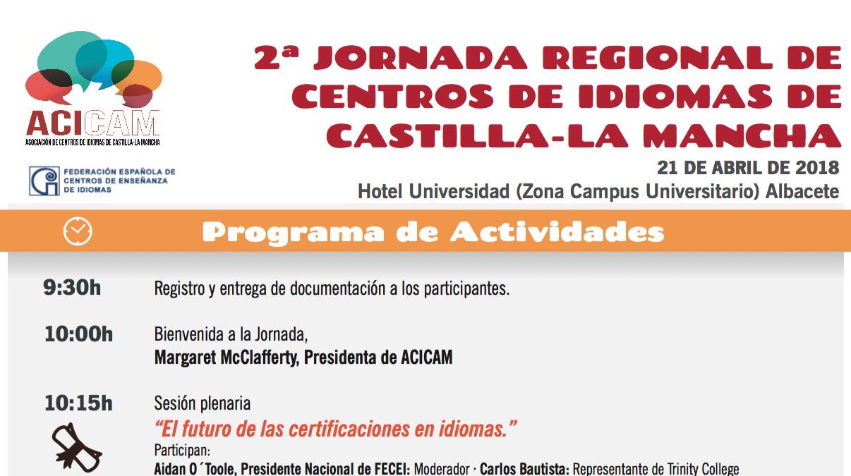 La 2ª Jornada Regional De ACICAM Se Celebrará En Albacete El 21 De Abril.